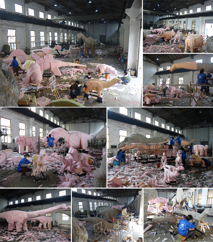 artificial dinosaur making process in factory
