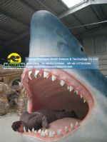 Life size fiberglass statues shark head for took photos DWA084
