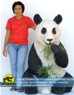 Decoration model animatronic panda eatting bamboo DWA088